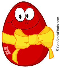 Red Easter Egg - Happy Red Easter Egg Cartoon Character With...