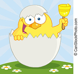 Yellow Easter Chick Ringing A Bell