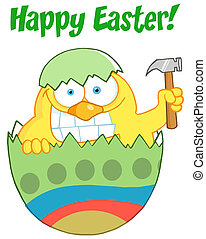 Easter Chick Holding A Hammer