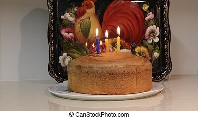 Third birthday cake Three birthday candles
