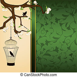 birdcage and birds - Vintage background with birdcage and...