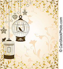 ornamental birdcages and birds - Vintage background with...