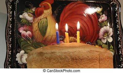 Third birthday cake. Three birthday candles