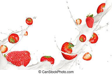 Fruit in milk - Strawberries in cream splash, isolated on...
