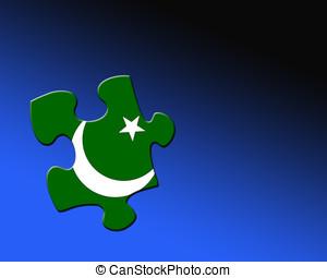 Pakistan jigsaw piece - A single jigsaw piece filled with...