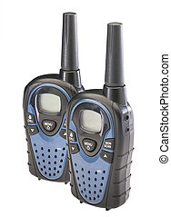 Walkie talkies, isolated - Two walkie talkies isolated on a...