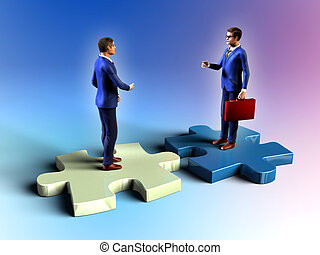 Business agreement - Two businessman having a meeting while...
