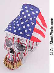 skull - A human skull with a american flag and 9mm...