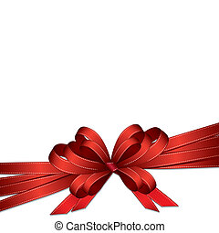 red ribbon and bow background - Red ribbon and bow isolated...