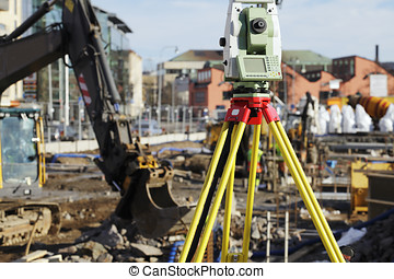 large geodesy instrument and buildi - geodesy total station...