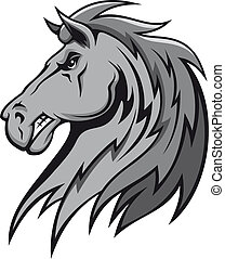 Angry gray stallion - Angry wild stallion in cartoon design...