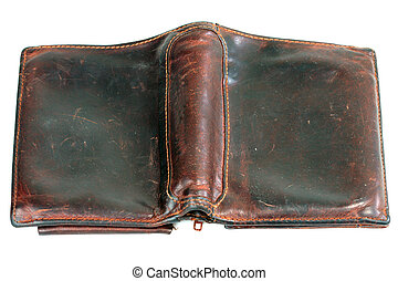 Old leather purse - Old brown leather purse on white...