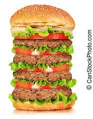 Big hamburger isolated on white bac