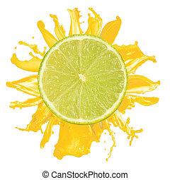 sliced lime splash with orange juice isolated on white background