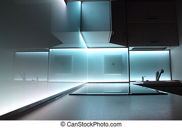 luxury kitchen with led lighting - modern luxury kitchen...