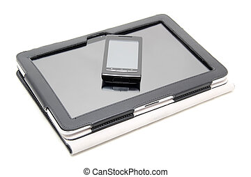 tablet PC and touchscreen smartphone on white background