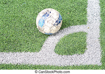 Soccer ball on the field - shooting a corner