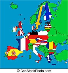 Map of EU member countries - A map of Europe with all the EU...