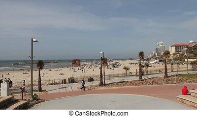 Spring beach in Herzliya.  TelAviv. Israel