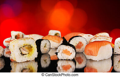 Sushi - Delicious sushi with shiny blur background