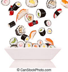 Sushi - Delicious pieces of sushi, isolated on white...
