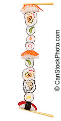 XXL sushi pieces, isolated on white background