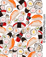 Many sushi pieces isolated on white background