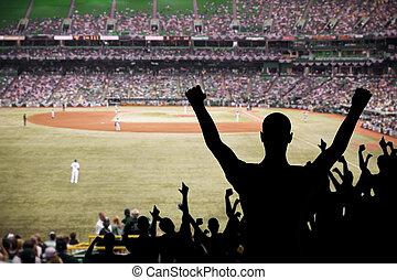 Baseball Fan Celebration - Fan celebrating a victory at a...