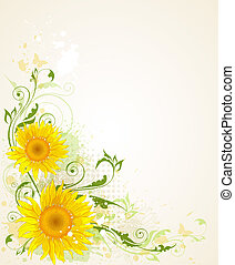 background with sunflower - decorative vector floral grunge...