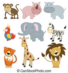 Cartoon african animals set on white background