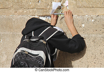 Child's prayer at the Wailing wall