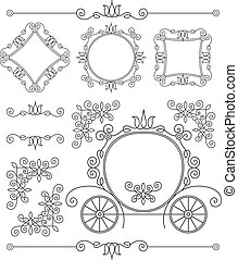 set vintage vector ornaments - editable and scalable set...