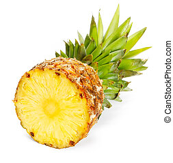 Fresh slice pineapple on white