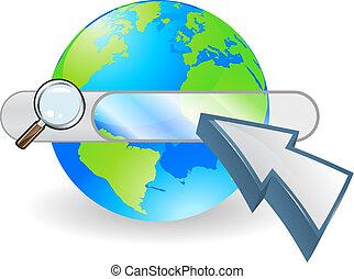 Web globe seach bar concept