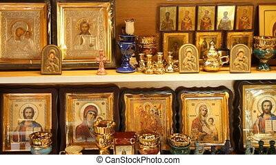 Russian Orthodox Church. The interior, icons, candle, life.