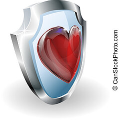 Heart on 3D shield icon