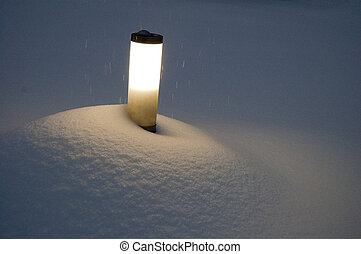 Street light on snowy weather