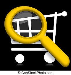 Shopping cart under magnifyier - Shopping cart under...