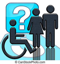 Handicap sign - People and handicapped person in wheelschair...