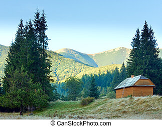 Wooden house on mountainside