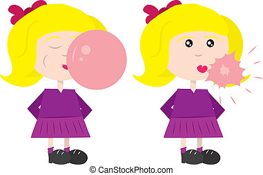 Bubble pop - Girl blowing a bubble of gum, which then pops....