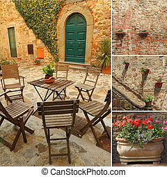 collage with images from italian terrace, Tuscany, Europe