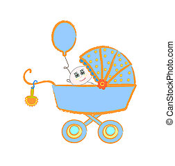 Baby buggy. Vector illustration on