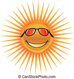 Summer sun with smile and glasses