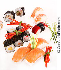 Sushi food - Sushi pieces on white background