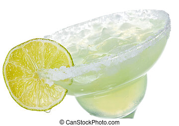alcohol margarita cocktail with lime on white background