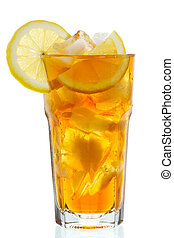 glass of ice tea with lemon on white background