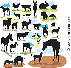 set vector silhouettes farm animals