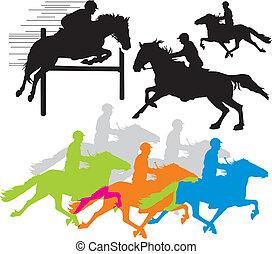 komplet, koń, jeździec, Wektor, sylwetka