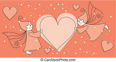greeting love card with elves